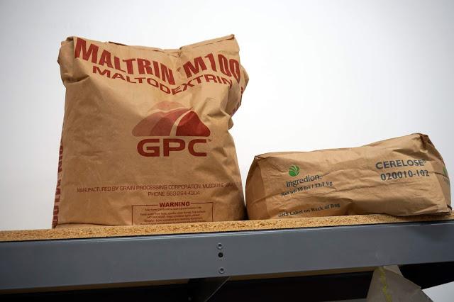 Sacks of dextrose and maltodextrin.
