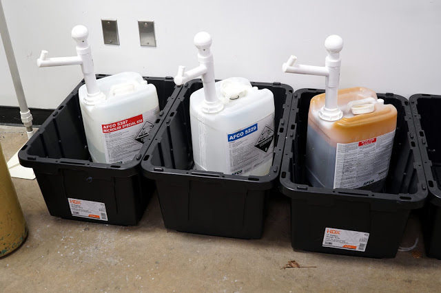 The chemicals we use to clean and sanitize our brewery.