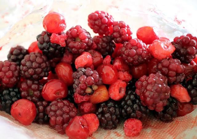 All of the frozen berries (cherries, blackberries, raspberries, and mulberries.