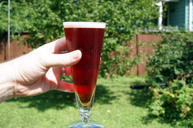 The finished mixed-berry sour beer.